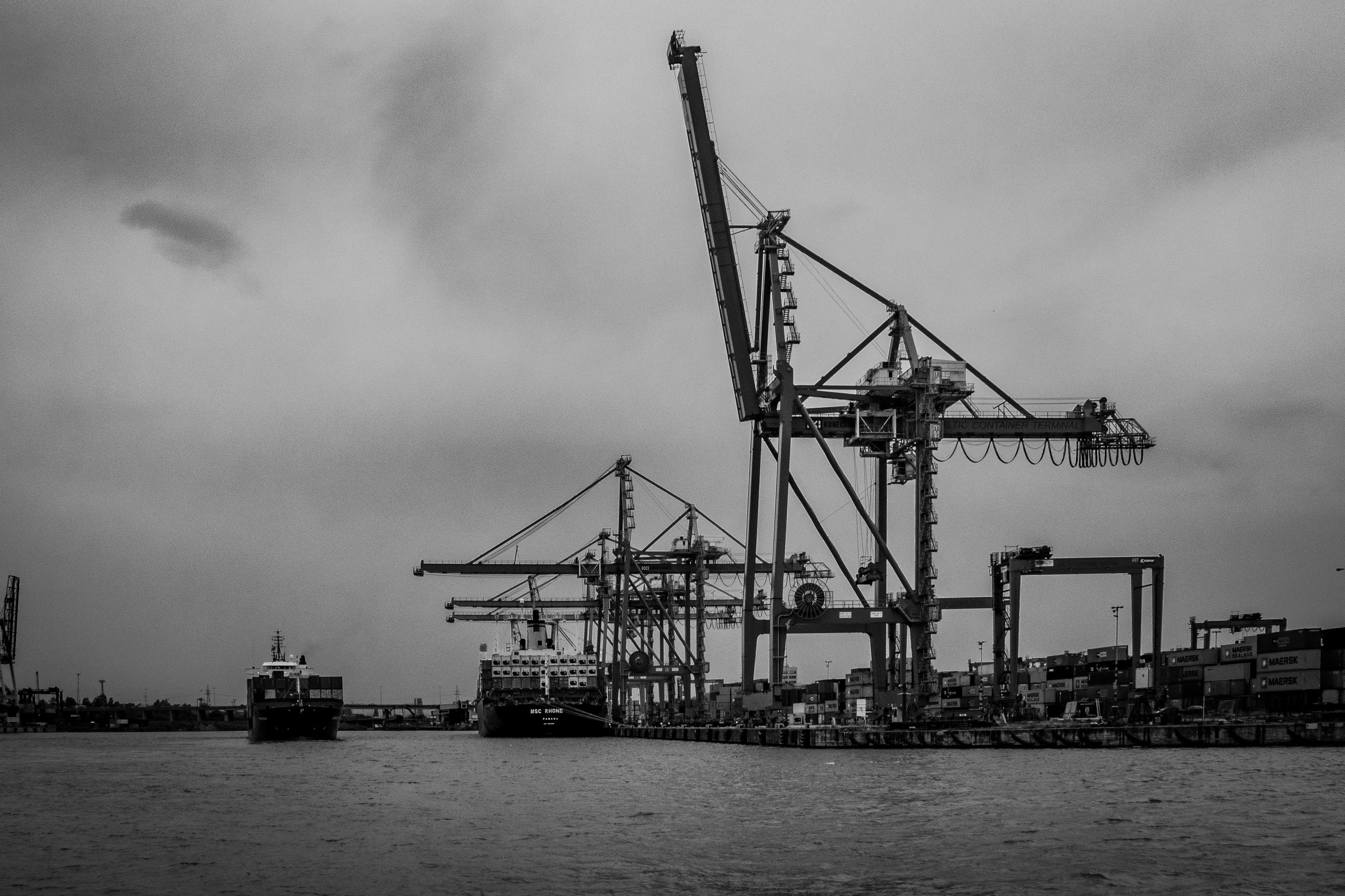 Rainy afternoon in the Gdynia port.